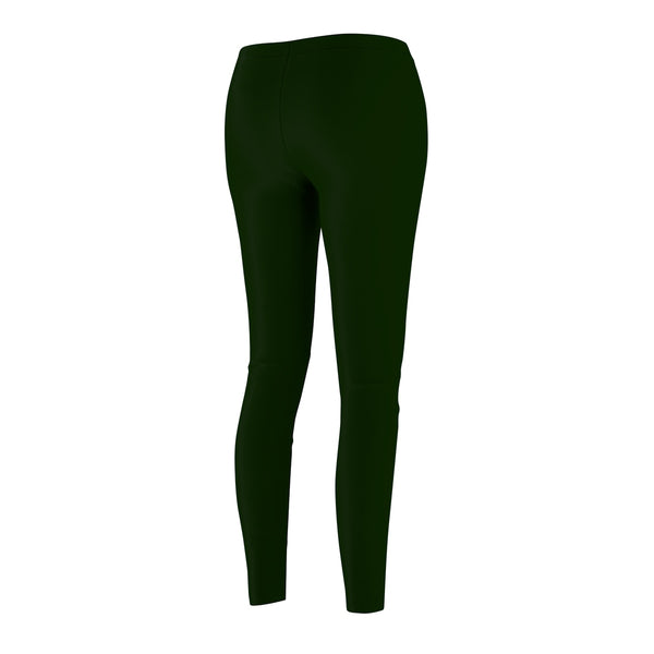 Basil Green Women's Casual Leggings, Classic Solid Color Print Best Tights - Made in USA-Casual Leggings-Heidi Kimura Art LLC