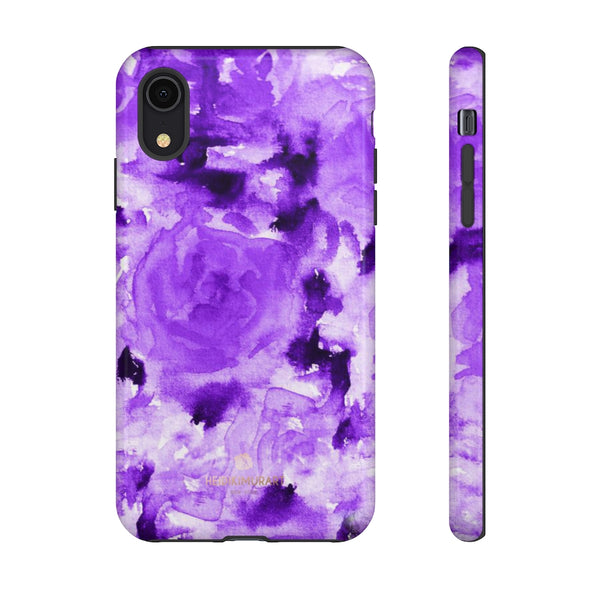 Purple Floral Rose Phone Case, Roses Floral Print Tough Designer Phone Case -Made in USA-Phone Case-Printify-iPhone XR-Glossy-Heidi Kimura Art LLC
