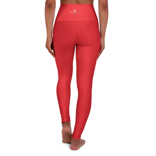 Red High Waisted Yoga Leggings, Solid Color Long Women Yoga Tights-All Over Prints-Printify-XL-Heidi Kimura Art LLC