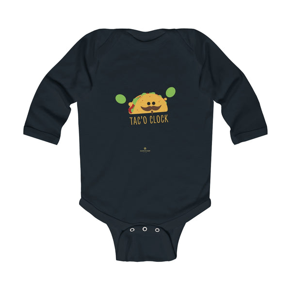 Taco Cute Funny Baby Boy or Girls Infant Kids Long Sleeve Bodysuit - Made in USA-Infant Long Sleeve Bodysuit-Black-NB-Heidi Kimura Art LLC