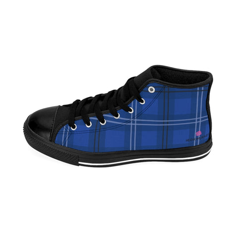 Royal Blue Plaid Women's Sneakers, Preppy Tartan Print Designer Fashionable Women's High-top Sneakers Running Tennis Shoes (US Size: 6-12)