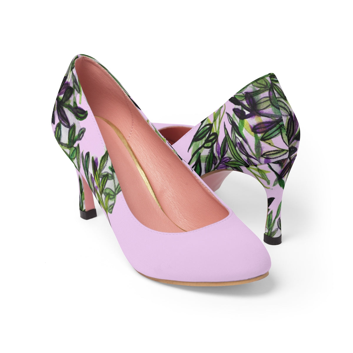 "Pink Green Tropical Leaves Floral Designer Women's 3"" High Heels Shoes (US Size: 5-11)-3 inch Heels-US 7-Heidi Kimura Art LLC"