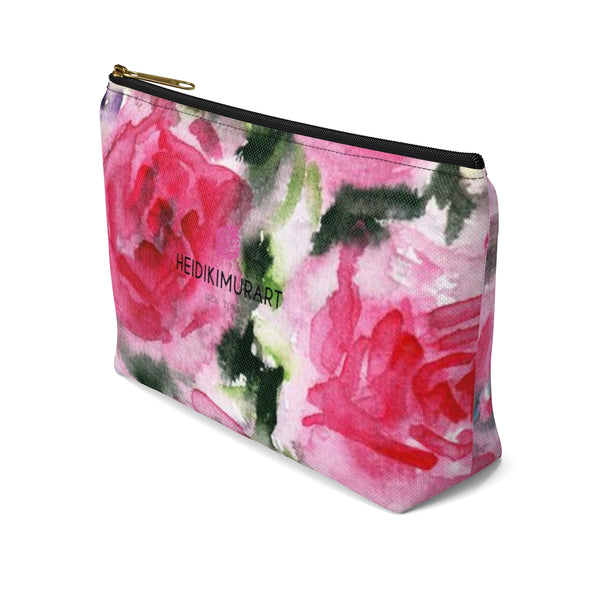 Pink Spokane Sweet Pink Rose Floral Designer Accessory Pouch with T-bottom-Accessory Pouch-Heidi Kimura Art LLC