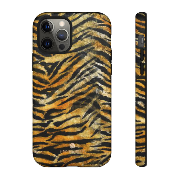 Orange Tiger Striped Phone Case, Animal Print Tough Cases, Designer Phone Case-Made in USA-Phone Case-Printify-iPhone 12 Pro-Matte-Heidi Kimura Art LLC