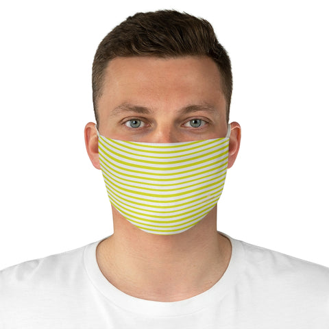 "Yellow White Striped Face Mask, Designer Horizontally Stripes Fashion Face Mask For Men/ Women, Designer Premium Quality Modern Polyester Fashion 7.25"" x 4.63"" Fabric Non-Medical Reusable Washable Chic One-Size Face Mask With 2 Layers For Adults With Elastic Loops-Made in USA"