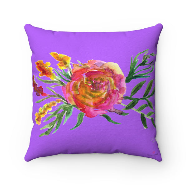 Purple Red Rose Bight Purple Colorful Girlie Watercolor Floral Print Pillow - Made in USA-Pillow-14x14-Heidi Kimura Art LLC