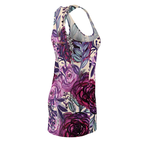 Purple Floral Print Women's Long Sleeveless Racerback Dress - Made in USA (US Size: XS-2XL)-Women's Sleeveless Dress-Heidi Kimura Art LLC