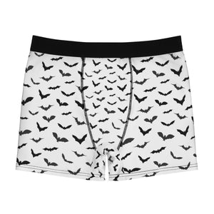 Black White Sexy Flying Bats Designer Gay Men's Fetish Boxer Briefs (US Size: XS-3XL)-Men's Underwear-L-Black Seams-Heidi Kimura Art LLC