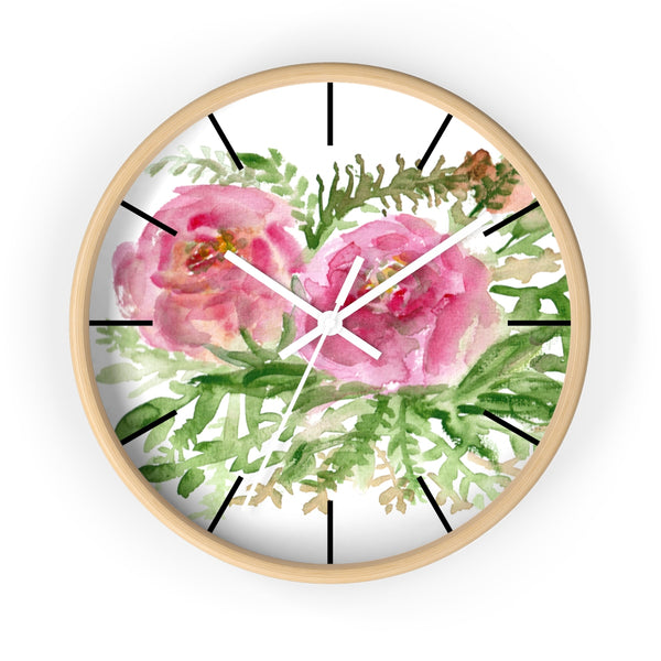 Pink Rose Vintage Style Floral Print Rose Flower 10 inch Diameter Wall Clock-Made in USA-Wall Clock-Wooden-White-Heidi Kimura Art LLC