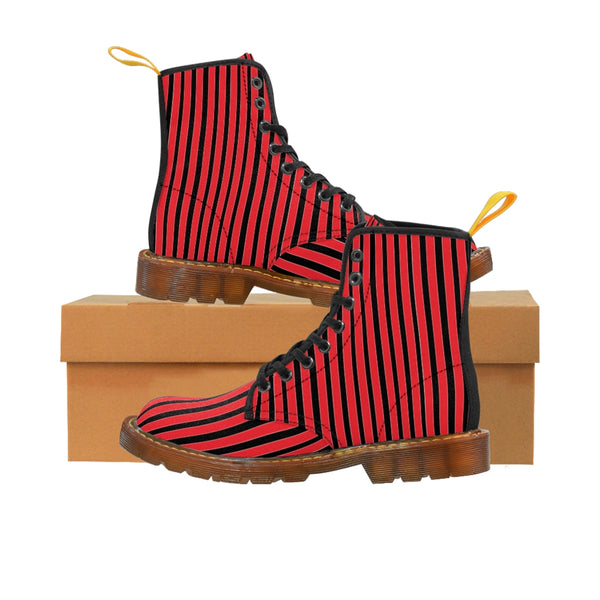 Red Striped Print Men's Boots, Black Stripes Best Hiking Winter Boots Laced Up Shoes For Men-Shoes-Printify-Brown-US 8-Heidi Kimura Art LLC Red Striped Print Men's Boots, Black Red Stripes Men's Canvas Hiking Winter Boots, Fashionable Modern Minimalist Best Anti Heat + Moisture Designer Comfortable Stylish Men's Winter Hiking Boots Shoes For Men (US Size: 7-10.5)