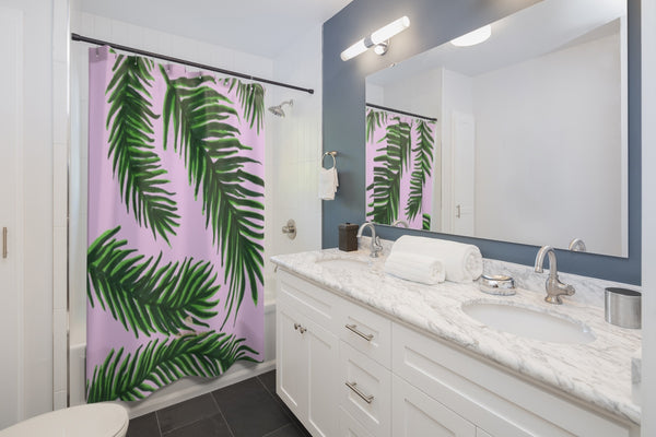 "Pink Green Shower Curtains, Pink and Green Tropical Tree Palm Leaf Print Designer Shower Curtains - Printed in USA, Premium Bathroom Shower Curtains, Home Decor, Large 100% Polyester 71x74 inches Shower Curtains, Bathroom Shower Curtains, Jungle Hawaiian Summer Nature Print Cute Pink Green Tropical Jungle Palm Tree Leaf Print Shower Curtains- Printed in USA-Shower Curtain-71"" x 74""-Heidi Kimura Art LLC"
