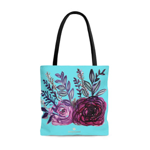 Sky Blue Rose Flower Floral Designer Small Medium or Large Tote Bag - Made in USA-Tote Bag-Large-Heidi Kimura Art LLC