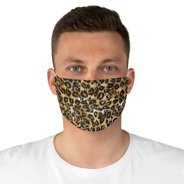 "Leopard Animal Print Face Mask, Adult Designer Premium Fabric Face Mask-Made in USA-Accessories-Printify-One size-Heidi Kimura Art LLC Leopard Animal Print Face Mask, Brown Leopard Spot Print Face Mask, Fashion Face Mask For Men/ Women, Designer Premium Quality Modern Polyester Fashion 7.25"" x 4.63"" Fabric Non-Medical Reusable Washable Chic One-Size Face Mask With 2 Layers For Adults With Elastic Loops-Made in USA"