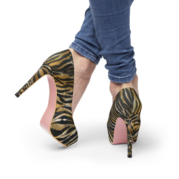 "Rila Brown Bengal Tiger Stripe Animal Skin Pattern Women's 4"" Platform Pumps High Heels Shoes - Heidi Kimura Art LLC"