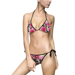 Dancing Red Rose Stylish Deviant Cool Girl Women's Bikini Swimsuit (Size: S-5XL)-Swimwear-Black-S-Heidi Kimura Art LLC
