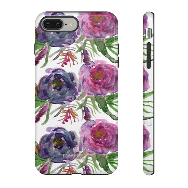 Pink Floral Print Phone Case, Roses Tough Designer Phone Case -Made in USA-Phone Case-Printify-iPhone 8 Plus-Glossy-Heidi Kimura Art LLC