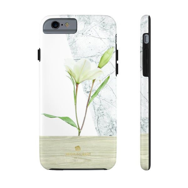 Minimalist White Floral Print Designer Case Mate Tough Phone Case-Made in USA - Heidikimurart Limited