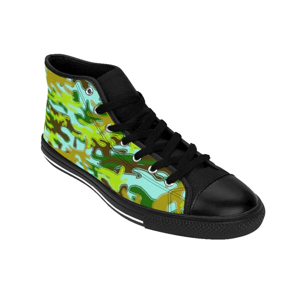 Light Blue Green Camouflage Army Military Print Men's High-top Sneakers Tennis Shoes-Men's High Top Sneakers-Heidi Kimura Art LLC