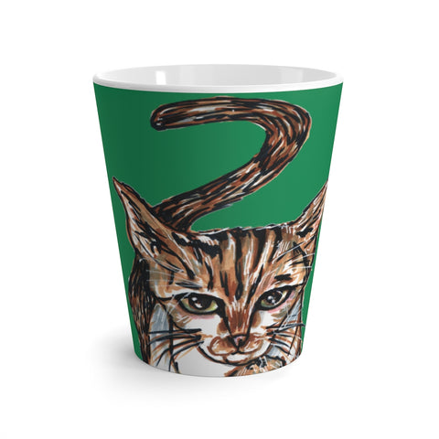 Cute Cat 12 oz Latte Mug, Peanut Meow Cat Best White Green Ceramic Coffee Cup, Ceramic Latte Mug, Microwave-Safe, Dishwasher-Safe Tea Coffee Cup -Printed in USA, Cat Coffee Mug, Best Cat Mugs, Great Gifts For Cat Lovers