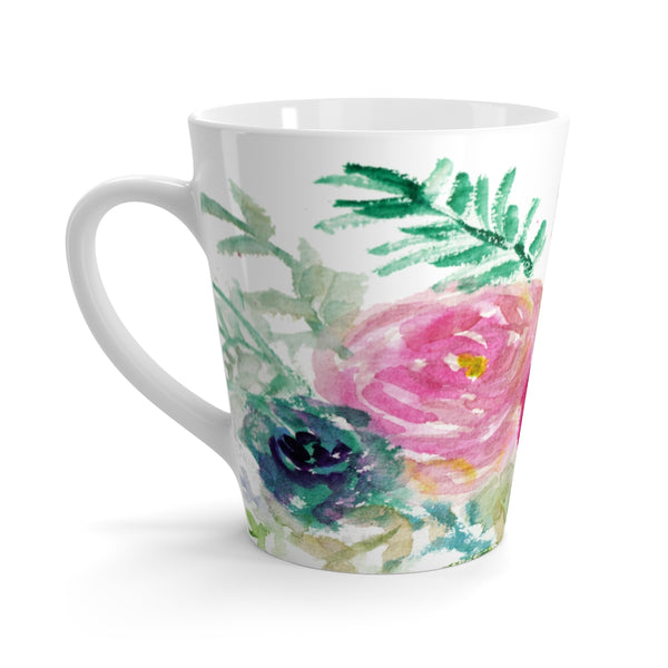 Mixed Florals 12 Oz. Cute Pink Rose Flower Floral Print Ceramic Latte Mug-Made in USA-Mug-12oz-Heidi Kimura Art LLC Floral Rose Ceramic Mug, Mixed Floral 12 Oz. Cute Pink Rose Flower Floral Print Ceramic Latte Mug, Microwave-Safe, Dishwasher-Safe Feminine Floral Tea Coffee Cup -Made in USA