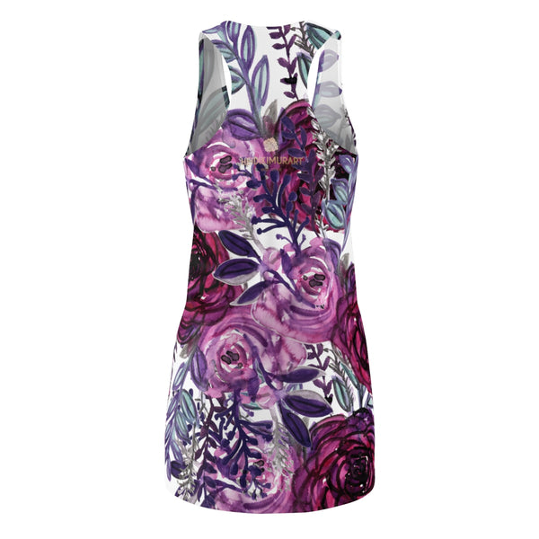 White & Purple Floral Print Designer Premium Women's Long Racerback Dress - Made in USA-Women's Sleeveless Dress-Heidi Kimura Art LLC
