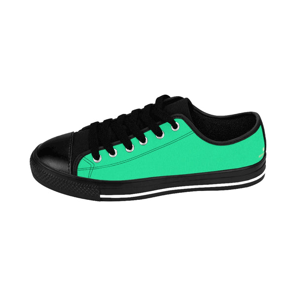 Turquoise Blue Solid Color Premium Quality Designer Low Top Women's Sneakers-Women's Low Top Sneakers-Heidi Kimura Art LLC