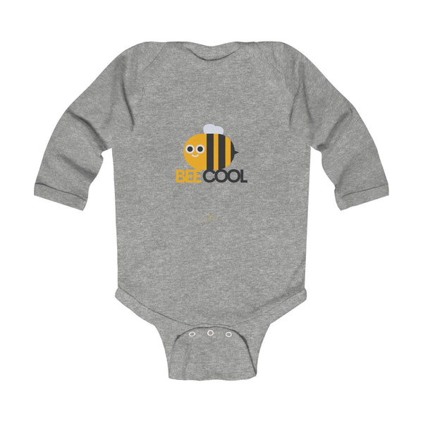 Bee Infant Long Sleeve Bodysuit, Be Cool Cute Baby Boy or Girls Kids Clothes- Made in USA-Infant Long Sleeve Bodysuit-Heather-NB-Heidi Kimura Art LLC