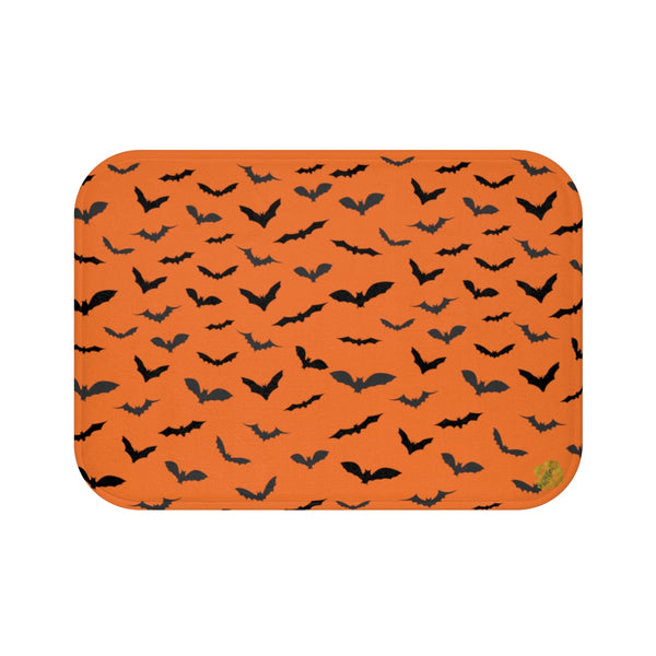 Orange Black Flying Bats Designer Halloween Bath Mat-Made in USA-Bath Mat-Small 24x17-Heidi Kimura Art LLC