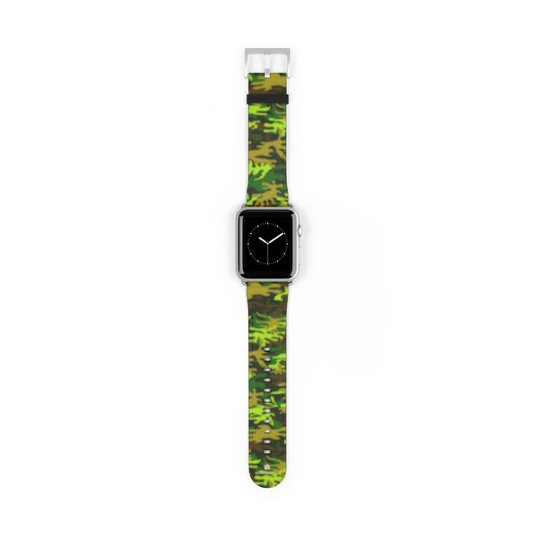 Green Brown Camo Military Print 38mm/42mm Watch Band For Apple Watch- Made in USA-Watch Band-42 mm-Silver Matte-Heidi Kimura Art LLC