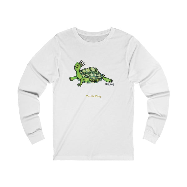 Turtle King Unisex Jersey Long Sleeve Tee Unisex T-Shirt, Made in USA (Size: X-2XL)-Long-sleeve-White-S-Heidi Kimura Art LLC