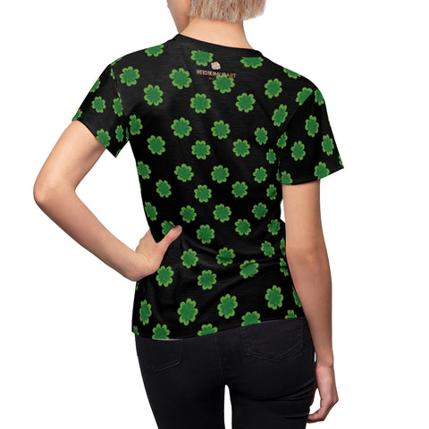 Black Green Clover Print Shirt, St. Patrick's Day Women's Crewneck Tee- Made in USA-Women's T-Shirt-L-Black Seams-4 oz.-Heidi Kimura Art LLC