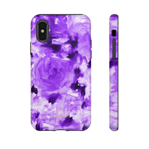 Purple Floral Rose Phone Case, Roses Floral Print Tough Designer Phone Case -Made in USA-Phone Case-Printify-iPhone XS-Glossy-Heidi Kimura Art LLC