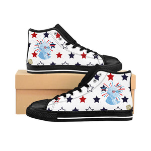 Patriotic Independence Day July 4th Men's White High-Top Sneakers (US Size: 6-14)-Men's High Top Sneakers-Black-US 9-Heidi Kimura Art LLC