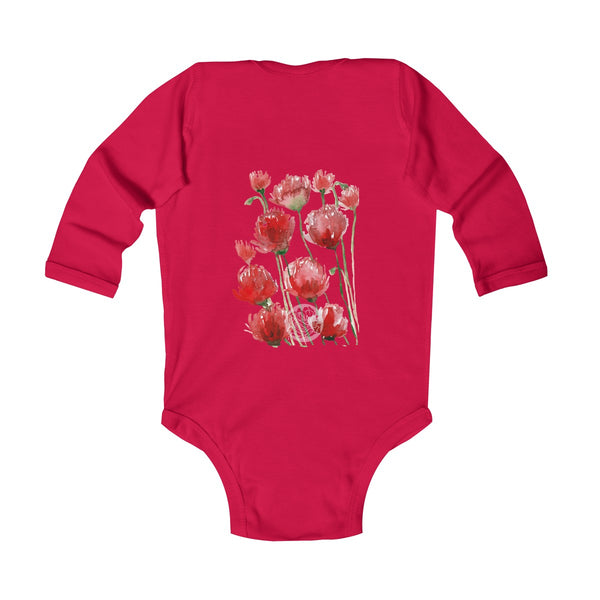 Floral Red Poppy Flower Print Infant Long Sleeve Bodysuit - Made in UK(UK Size: 6M-24M)-Kids clothes-Heidi Kimura Art LLC