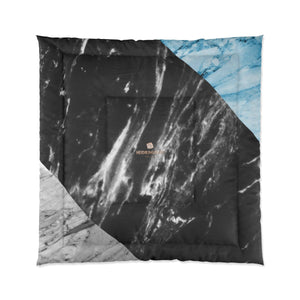 Gray Blue White Marble Print Best Comforter For King/Queen/Full/Twin Bed-Made in USA-Comforter-88x88 (Queen Size)-Heidi Kimura Art LLC