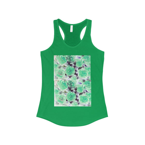 Nobusuke Ice Blue Rose Floral Women's Ideal Racerback Tank -Made in the U.S.A. (US Size: XS-2XL)-Tank Top-Solid Kelly Green-XS-Heidi Kimura Art LLC
