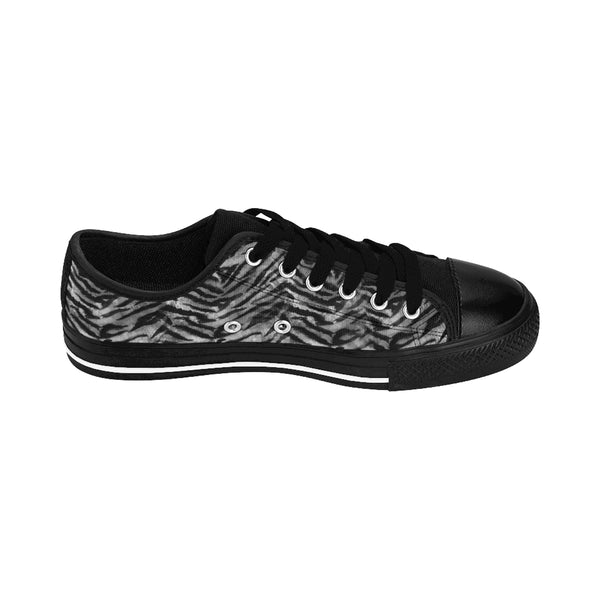 Gray Tiger Stripe Animal Skin Pattern Print Men's Low Top Sneakers Running Shoes-Men's Low Top Sneakers-Heidi Kimura Art LLC