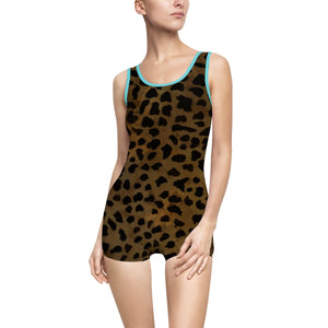 Dark Brown Leopard Animal Print Women's Vintage-Style Swimsuit 2 piece Swimwear-One-piece swimwear-Ocean-M-Heidi Kimura Art LLC Dark Brown Leopard Animal Print Women's Vintage-Style Swimsuit Swimwear (US Size: XS-3XL), Plus Size Available, Brown Leopard Women's Swimwear