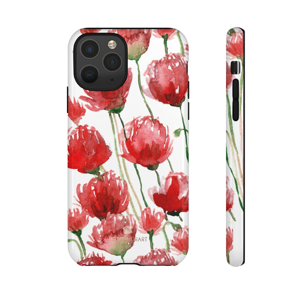 Red Tulips Floral Tough Cases, Roses Flower Print Best Designer Phone Case-Made in USA-Phone Case-Printify-iPhone 11 Pro-Glossy-Heidi Kimura Art LLC