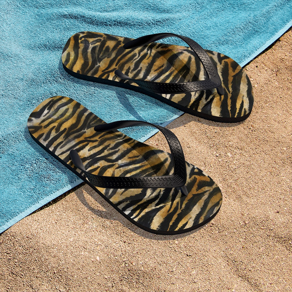 Cute Tiger Stripe Wild Animal Skin Print Designer Unisex Men/Women's Flip-Flops - Made in USA (Size: S, M, L)-Flip-Flops-Heidi Kimura Art LLC