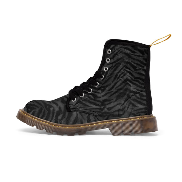 Kanagawa Black Tiger Stripe Pattern Designer Women's Winter Lace-up Toe Cap Boots-Women's Boots-Brown-US 10-Heidi Kimura Art LLC
