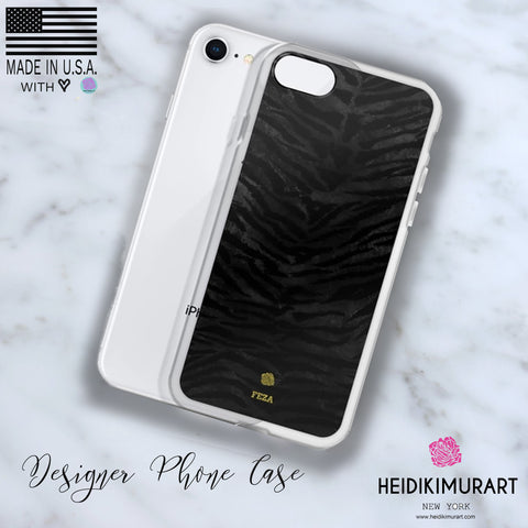 Black Tiger Striped Animal Print Pattern Custom Name iPhone Case, Made in USA/ Europe-Phone Case-iPhone 11-Heidi Kimura Art LLC