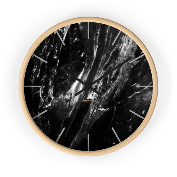 Elegant Black & White Marble Print Art Large Indoor Designer Wall Clock-Made in USA-Wall Clock-10 in-Wooden-Black-Heidi Kimura Art LLC