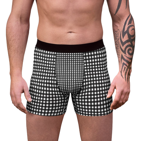 Black Plaid Men's Boxer Briefs, Classic Buffalo Plaid Print Underwear For Men-All Over Prints-Printify-L-Black Seams-Heidi Kimura Art LLC Black Plaid Men's Boxer Briefs, Classic Buffalo Plaid Print Traditional Best Underwear For Men Sexy Hot Men's Boxer Briefs Hipster Lightweight 2-sided Soft Fleece Lined Fit Underwear - (US Size: XS-3XL)