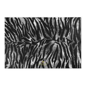 "White Black Tiger Stripe Animal Print 24x36, 36x60, 48x72 inches Area Rugs- Printed in USA-Area Rug-72"" x 48""-Heidi Kimura Art LLC Black Tiger Stripe Area Rug, White Black Tiger Stripe Animal Print Designer 24x36, 36x60, 48x72 inches Machine Washable Area Rugs, Large Size Luxury Interior Carpet, Tiger Stripe Print Home Decor - Printed in the USA"