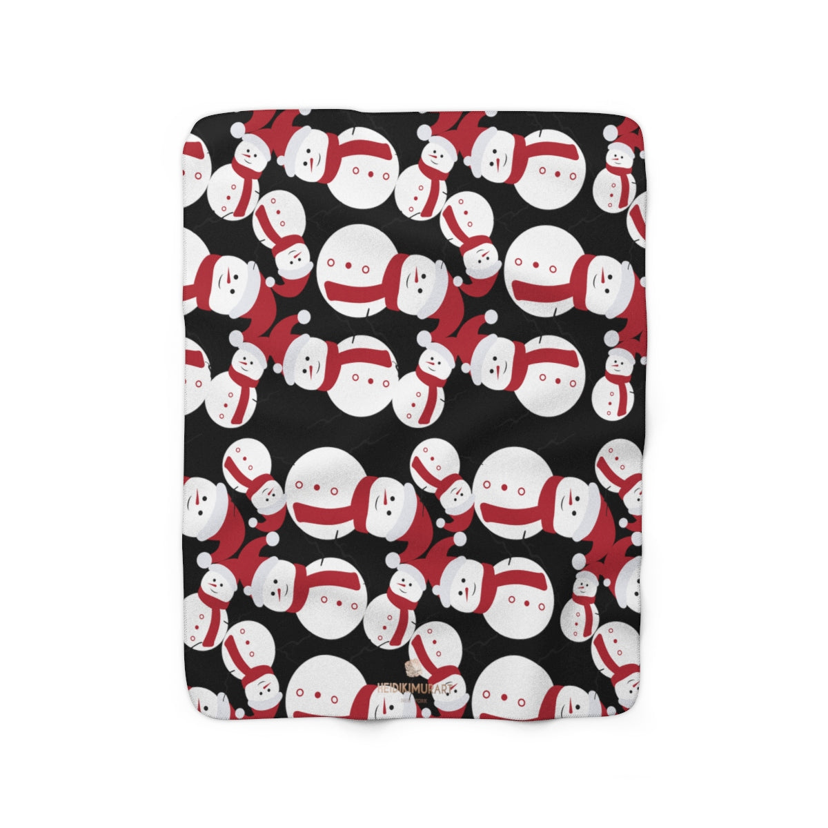 Black White Red Christmas Cute Fluffy Snowman Print Cozy Sherpa Fleece Blanket-Blanket-50'' x 60''-Heidi Kimura Art LLC Black Christmas Fleece Blanket, Black White Red Christmas Cute Fluffy Snowman Print Designer Soft Comfortable Sherpa Fleece Blanket Cozy Sherpa 100% Polyester Fleece Blanket With Plush Backside - Made in USA