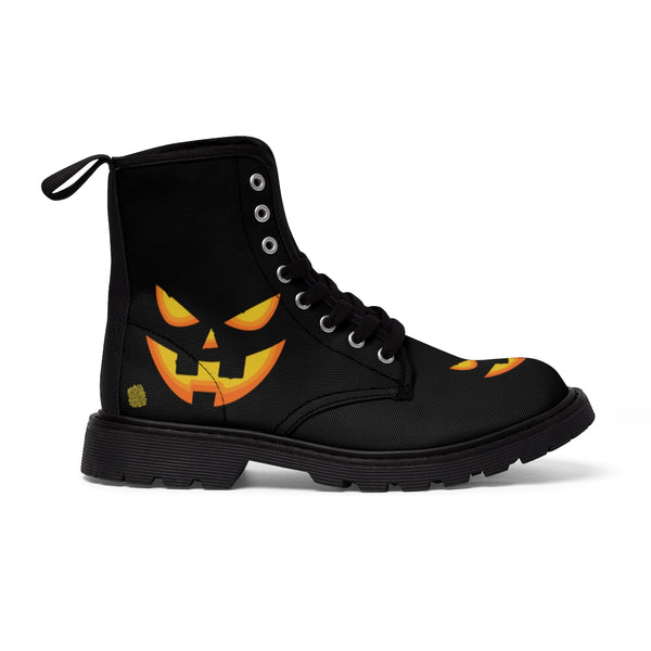 Black Orange Pumpkin Face Halloween Party Designer Women's Canvas Winter Boots-Women's Boots-Heidi Kimura Art LLC