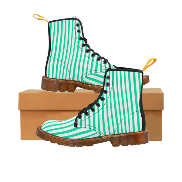 Turquoise Blue Women's Canvas Boots, White Blue Striped Designer Winter Boots For Ladies-Shoes-Printify-Brown-US 8.5-Heidi Kimura Art LLC