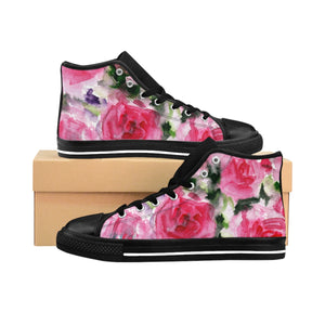 Floral Rose Print Women's High Top Designer Sneakers Running Shoes (US Size: 6-12)-Women's High Top Sneakers-US 10-Heidi Kimura Art LLC Floral Rose Women's Sneakers, Floral Rose Print Women's High Top Designer Sneakers Running Shoes (US Size: 6-12)