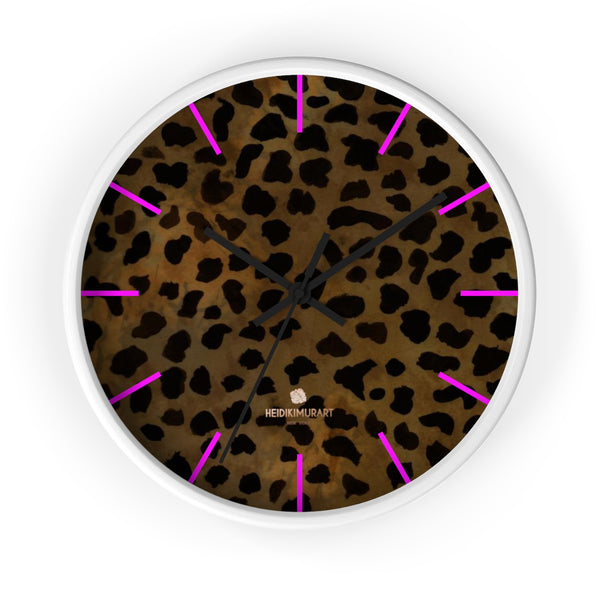 Cheetah Animal Print Designer 10 in. Dia. Indoor Wall Clock- Made in USA-Wall Clock-10 in-White-Black-Heidi Kimura Art LLC